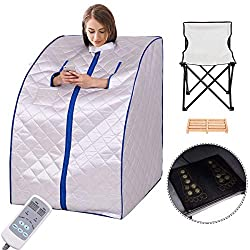 Giantex Portable Far Infrared Spa Sauna Full Body Slimming Weight Loss Negative Ion Detox Therapy in Home Personal Sauna w/Heating Foot Pad and Folding Chair (Silver)