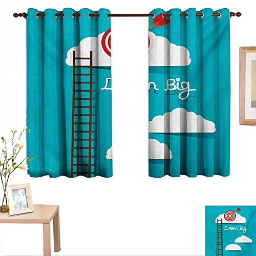 Superlucky Inspirational Customized Curtains Dream Big Phrase with Dart Board Fluffy Clouds Staircase Optimistic Attitude 55