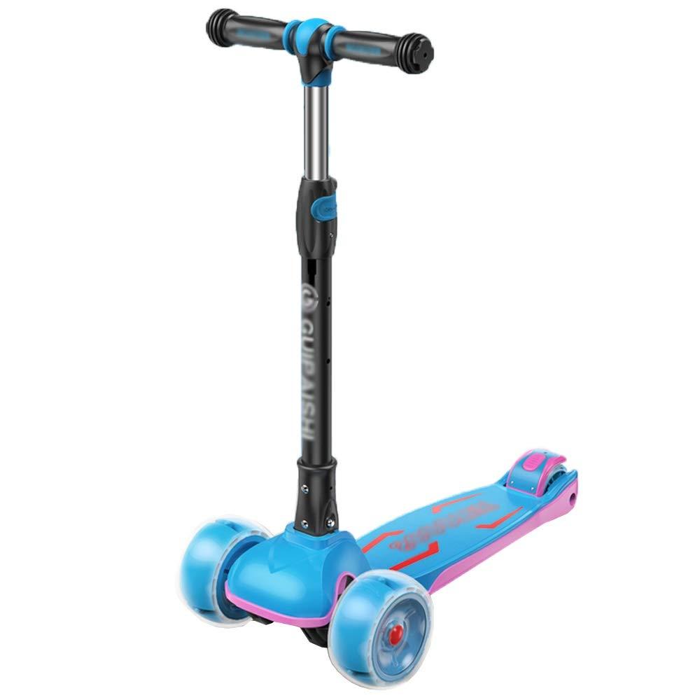 CHENGGUO 3-13 Anni Bambini Scooter Bambini Yo Car Beginner Baby Scooter 4 Ruote Girl Boy Skateboard (colore   Blu)