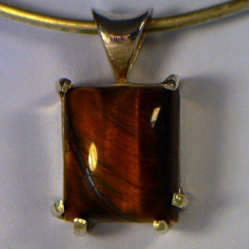 Natural Tiger's Eye Handmade Silver Unisex Gents Ladies Square Rectangle - Pendant Eye Tiger Rectangle