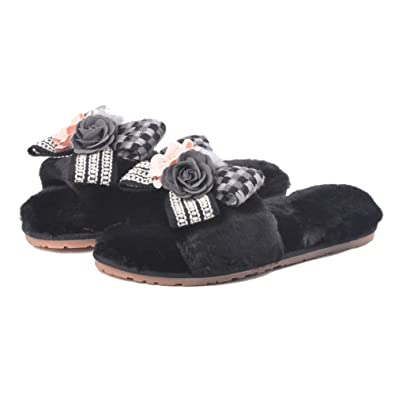 27cc673c1 Women's Fashion Design Bowknot with Flower Fur Slippers Winter Plush Flat  Slide Sandals Indoor Fluffy Shoes