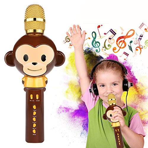 Wireless Bluetooth Karaoke Microphone for Kids Toy Gifts Singing Recording Portable Handheld Karaoke Speaker Machine for Android/iPhone/iPad/Sony/PC or All Smartphone (Brown)