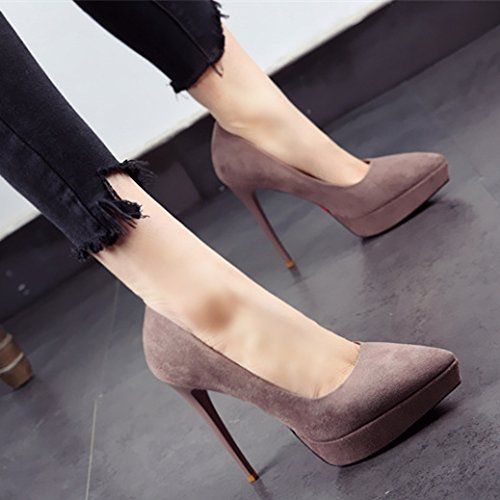 Fashion 12Cm Tip Spring High Khaki Lady Shallow Shoes Suede 38 Work Leisure MDRW Waterproof Fine With Elegant Mouth Heels wXvROBxq