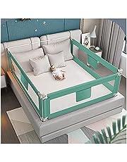 QIANDA-sängskenor sängar skyddsräcke 3 sidor (2 långa sidor och 1 fotsida) för baby justerbar höjd för barn tvillingar, dubbel (färg: Grön, storlek: 2 m + 1,8 m + 2 m)