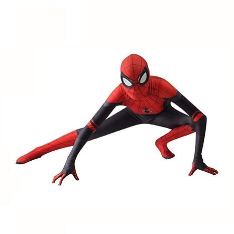 KYOKIM Superhéroe Spiderman Ropa Cosplay NiñO Adulto Vestido Halloween Navidad Celebracion Traje Fiesta De Baile Medias Siamesas,Child-XL