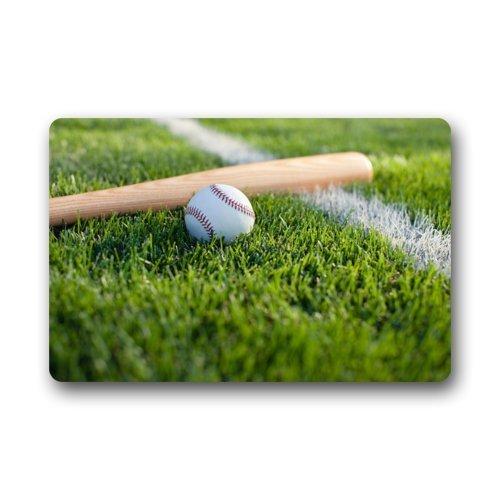 Soft Ball Baseball at Green Grass Doormats Entrance MatFloor Mat Door Mat Rug Indoor/Outdoor/Front Door/Bathroom Mats Rubber Non Slip (23.6