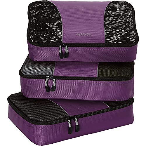 eBags Medium Classic Packing Cubes for Travel - 3pc Set - - Short Classic Eggplant