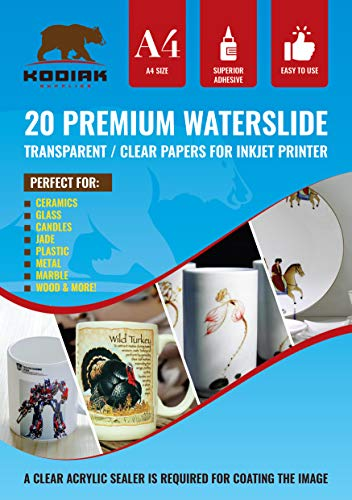 Kodiak Supplies A4 Waterslide Decal Paper INKJET Clear - 20 Sheets - DIY A4 water slide Transfer CLEAR Printable Water Slide Decals A4 20 Sheets (B07CZ76391)