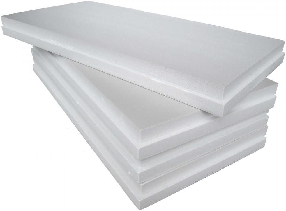 Paneles de Poliestireno - EPS 100 Blanco - Poliestireno expandido sinterizado de 3 cm de espesor para aislamiento térmico de vigas, pilares o sistema de recubrimiento., blanco