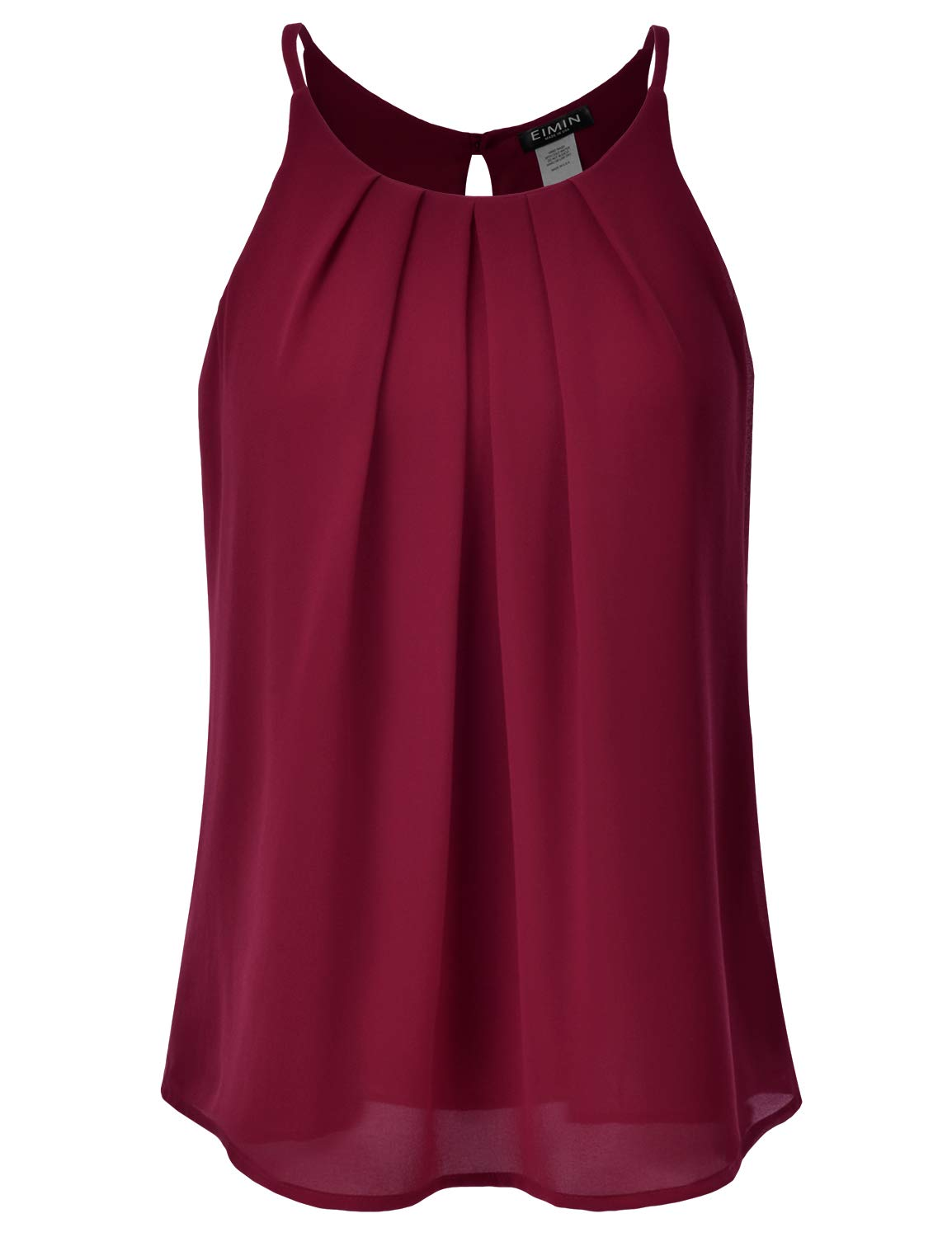 EIMIN Women's Crewneck Pleated Front Double Layered Chiffon Cami Tank Top Burgundy M