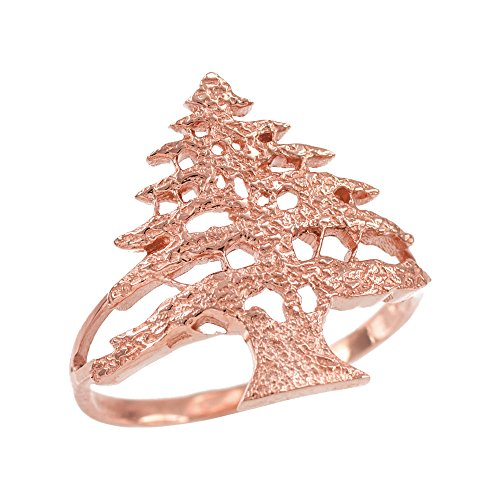 Bague Femme 10 Ct Or Rose Texturé Band Cèdre Libanais