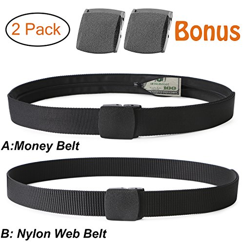 - Travel Security Money Belt with Hidden Money Pocket - Cashsafe Anti-Theft Wallet Unisex Nickel free Nylon Belt by JASGOOD