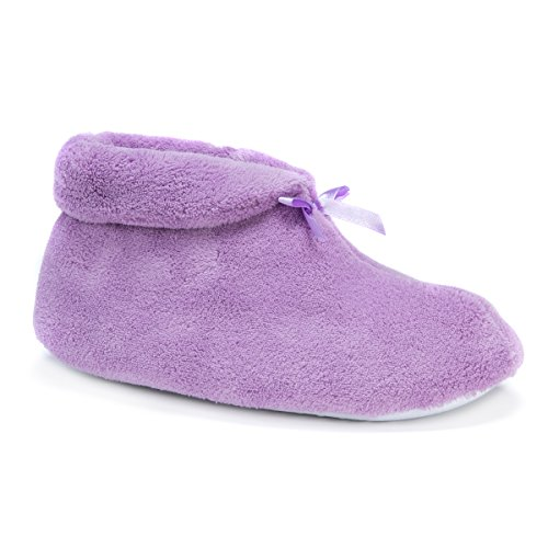 Soft Ones Women's Micro Chenille Slipper Booties Lavender