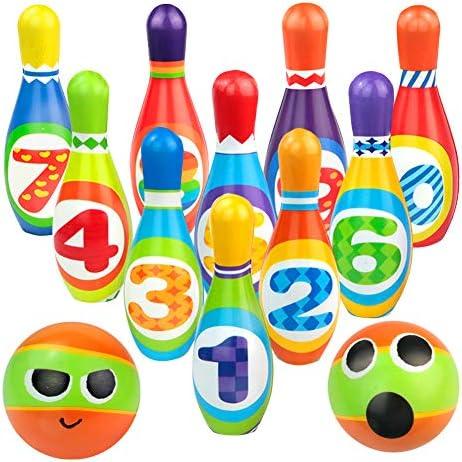 yoptote Bolos Infantiles Sets de Bolos Juguete Bowling Juegos Exterior Jardin 10 Pins Juego de Bolos Esponja Número Pelota Niño 3 Años+: Amazon.es: Juguetes y juegos