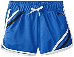 PUMA Big Girls\' Mesh Gym Short with Taping, Princess Blue, Small