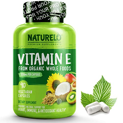 (NATURELO Vitamin E - 350 mg (522 IU) of Natural Mixed Tocopherols from Organic Whole Foods - Best Supplement for Healthy Skin, Hair, Nails, Immunity, Eye Health - Non-GMO, Soy free - 90 Vegan Capsules)