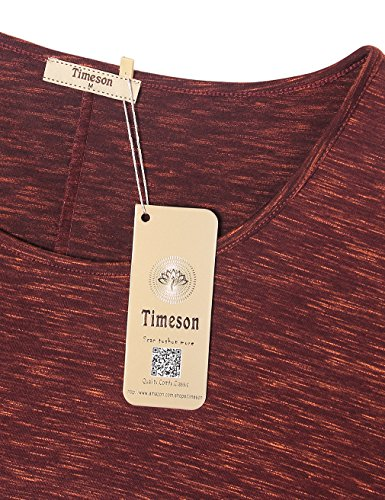 Timeson Batwing Shirt Women Short Sleeve Scoop Neck T-Shirt Blouse Top Small Wine by Timeson (Image #2)