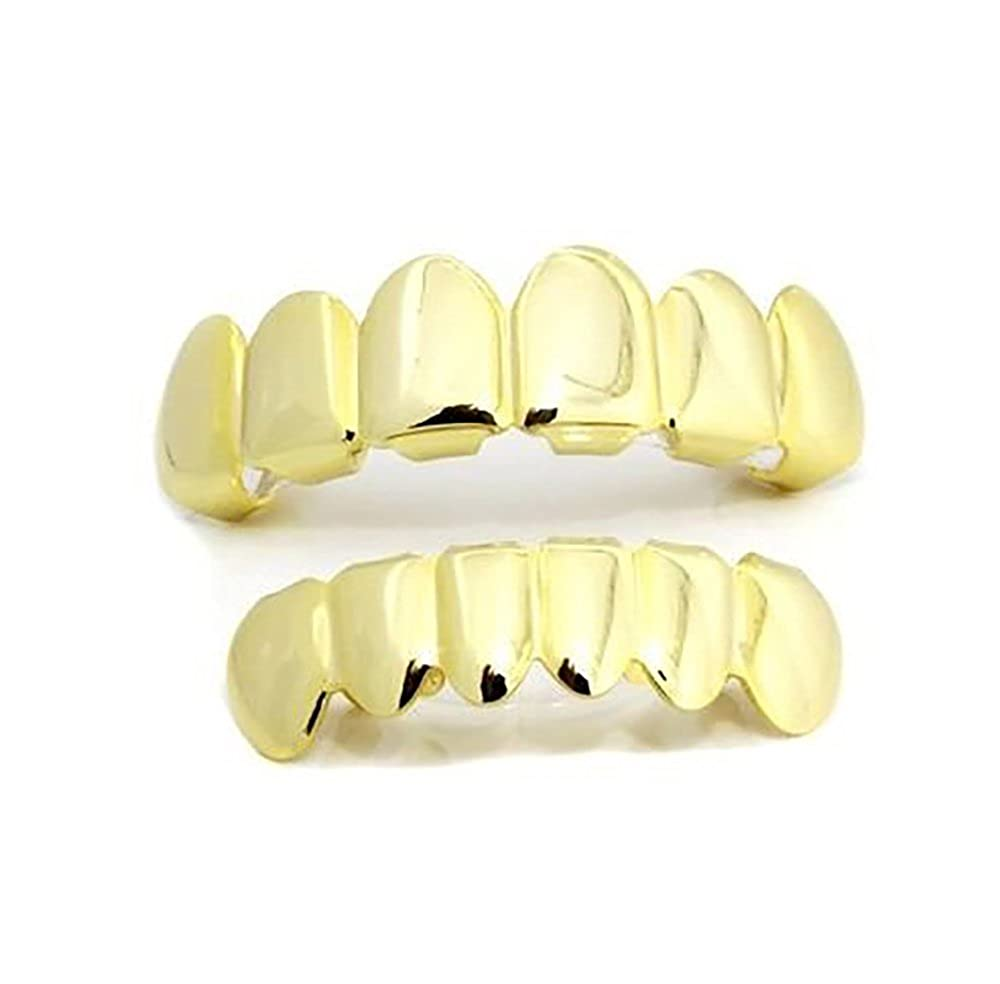 Hip Hop Gold Plated Removeable Mouth Grillz Set Top & Bottom Player Hip Hop Style