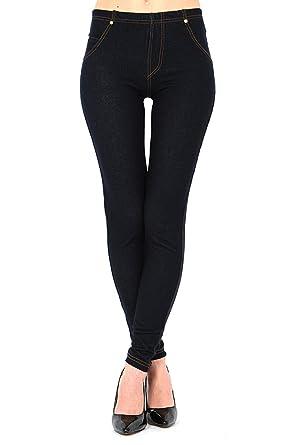 adb8c6800997 Womens Plus Size High Waisted Denim Blue Black Jeggings Jean Leggings 6-32:  Amazon.co.uk: Clothing