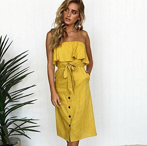 Hombro Correa Mujeres Una La del Botón Volante del de Casual Moda con de Línea la del Las Amarillo ALAIX del Vestido Fuera Frente xI0d6wg11q