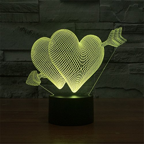 Lamp Heart Colorful Usb Led 3d 23x14x8.7cm Night Light For Children's Toys Birthday Gifts Bedroom Home - Outlet Garden Jersey Stores