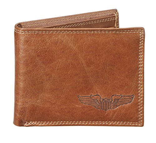 Debossed Pilot Wings Genuine Leather Wallet Gifts for Pilot Aviation Airplane
