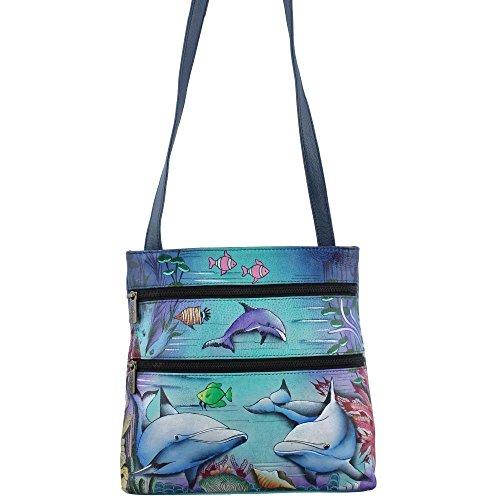 Anuschka pintado a mano lujo–�?47piel compacto Crossbody Viajes Organizador, Dolphin World (multicolor) - 447-DWD Dolphin World