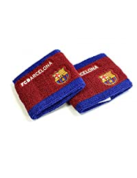 FC Barcelona Unisex Side Logo Wristbands Pack Of 2 (One Size) (Burgundy/Blue)