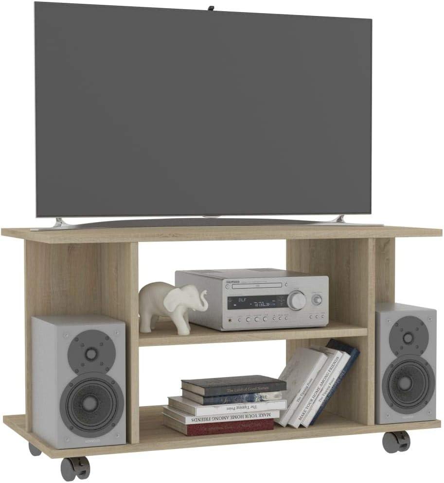 UnfadeMemory Mueble para TV Moderno con Ruedas,Mesa para TV,Mueble de hogar, con 4 Estantes Abiertos,Madera Aglomerada,80x40x40cm (Roble Sonoma): Amazon.es: Hogar