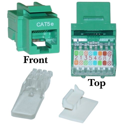 Cat5e Keystone Jack, Green, Toolless, RJ45 Female - Inline UTP Lan Modular Patch Stand Punch Down Panel (180s Green)