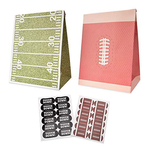Football Goodie Candy Treat Bags Birthday Super Bowl and NFL Party Favor Supplies Set of 24,with Thank You Stickers]()