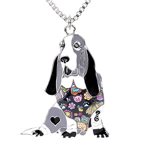 Basset Hound Jewelry - Marte&Joven Basset Hound Pendant Necklace for Girls Handmade Enamel Pets Dog Statement Gifts Jewelry