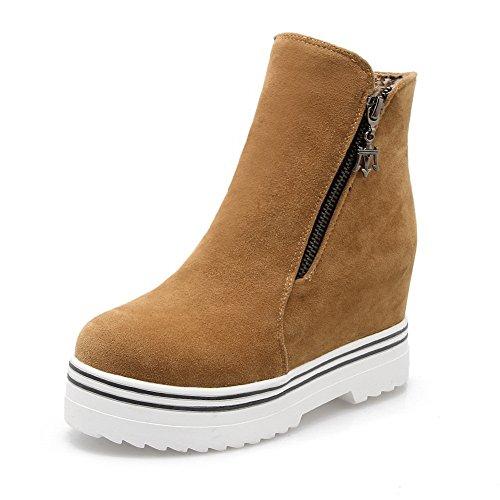 BalaMasa Girls Platform Zipper Heighten Inside Imitated Leather Boots Yellow 4XN8M