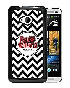 NCAA Arkansas State Red Wolves 9 Black Hard Shell Phone Case For HTC ONE M7