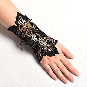 BLESSUME Steampunk Lace Wrist Cuff Bracelet with Gears (Black 2(1pc))
