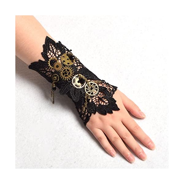 BLESSUME Steampunk Lace Wrist Cuff Bracelet with Gears (Black 2(1pc)) 4