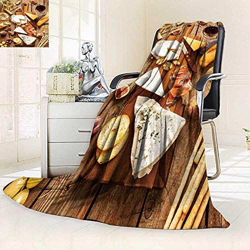 YOYI-HOME Digital Printing Duplex Printed Blanket Different Kinds of Cheeses Wine Baguette Fruits and Snacks on Rustic Wooden fromabove Summer Quilt Comforter/59 W by 86.5