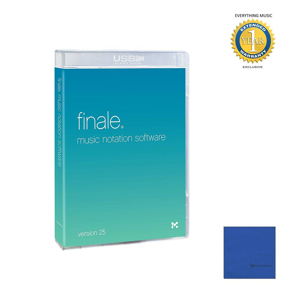 MakeMusic Finale 25 Music Notation Software Retail with Microfiber and 1 Year Everything Music Extended Warranty