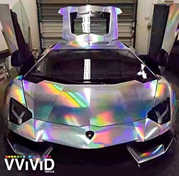 Amazon Com Vvivid Silver Holographic Chrome Vinyl Wrap Rainbow