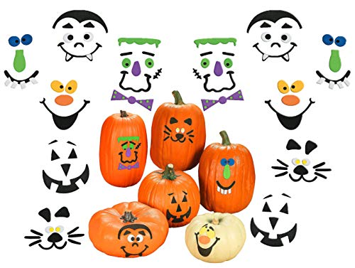 4E's Novelty Halloween Pumpkin Decorating Crafts Kit, with Foam Adhesive, Bulk Makes 24 Pumpkins, Each Kit Individually Wrapped, Great Kids Party Favors Decoration for Boys and Girls -
