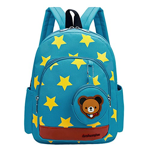 Vox Cute Toddler Backpack Girls Star Kids Backpack Preschool Boys Kindergarten Baby School Bag With Bear Coin Purse  Green