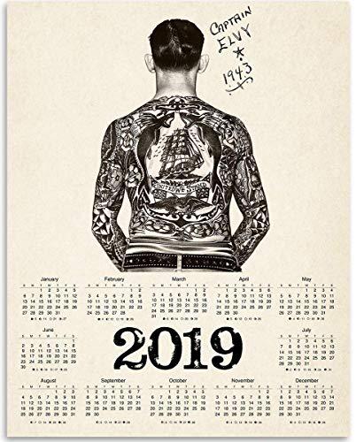 (2019 Calendar - Captain Elvy 1943 Tattoo Artist - 11x14 Unframed Calendar Art Print - Great for Tattoo Shop and Gift for Tattoo Artists, Also Makes a Great Gift Under $10)