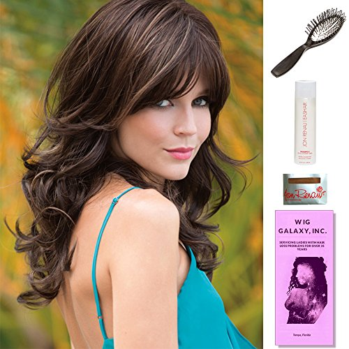 Avery by Noriko, Wig Galaxy Hair Loss Booklet, 2oz Travel Size Wig Shampoo, Wig Cap, & Loop Brush (Bundle - 5 Items), Color Chosen: Creamy Toffee R by Noriko & Wig Galaxy