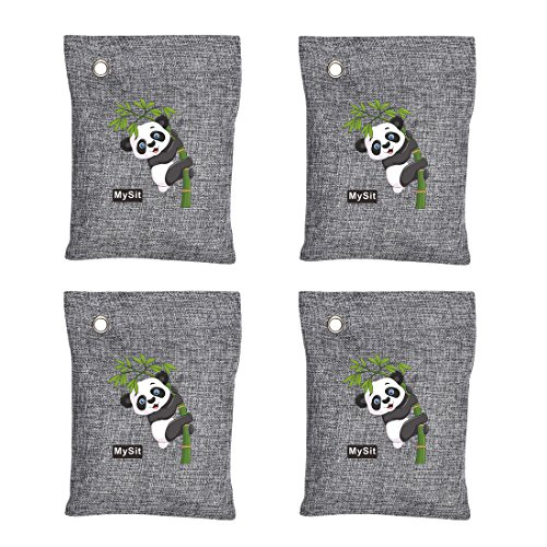 MySit Air Purifying Bags 4 x 200 Gram, Bamboo Charcoal Bag, Auto Bamboo Charcoal Air Freshener Bag, Kitchen Fridgerator Charcoal Deodorizer Toilet Bathrooms Odor Eliminator Remover Cabinet - Bags Poly Air