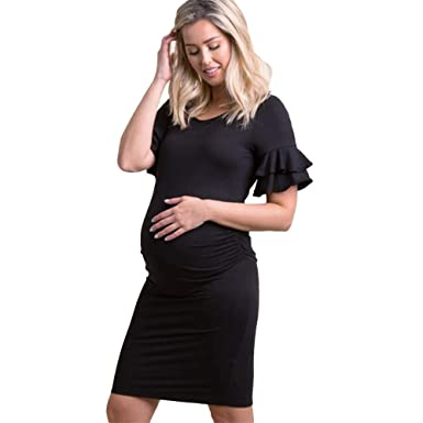92c9fed95f Women's Summer Maternity Dress Short Sleeve Ruffle Pregnant Dresses Solid  Color Pregnancy Clothes(Black,