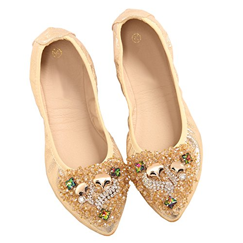 Soft Shoes golden MAIERNISI Comfort Ballet Pointed Rhinestone JESSI Womens Toe Fox Flats Foldable Beads qAAxU7Twt