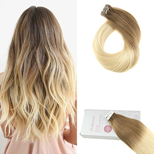 Moresoo 18 Inch 100 Remy Human Hair Tape in Extensions 50G/20PCS Color #6 Medium Brown Fading to #613 Bleach Blonde Extensions Glue in Tape on Remy Hair Extensions