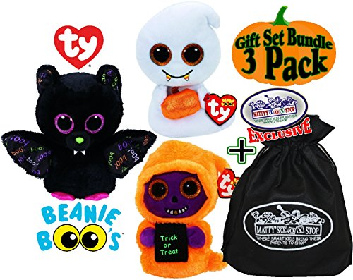 TY Beanie Boos Skeleton, Scream & Dart Halloween Gift Set Bundle with Bonus