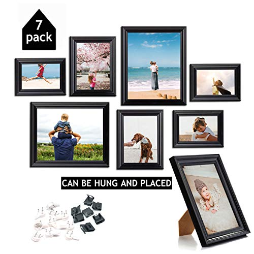 OyeArts Picture Frame Set (7 Pack) - Photo Frame for Wall Gallery Decor or Table Display (8x10/6x7/4x6 Black) (Collage Set Photo)