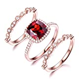 Red Garnet Engagement Ring Set 8mm Cushion Cut 925 Sterling Silver Rose Gold Plated CZ Diamond Bands Halo